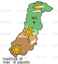 previsione sulla provincia di Modena per domani mattina